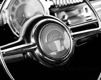 Classic Car Art - B&W Photo Print of an Antique Ford Steering Wheel and Dash - Man Cave Art, Car Decor