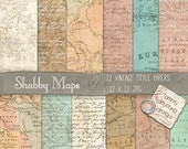 Map Digital Paper *Old World Map Paper* Printable maps shabby chic invites, cards, announcements, travel journal, travel decor, weddings