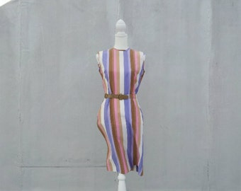 1960s Mod Striped Shift Dress 60s Vintage Pastel Pink Purple Rainbow Cotton Pencil Skirt Sue Brett Medium Sundress Multicolor Sheath Dress