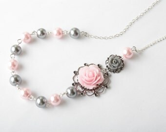 Bridesmaid necklace - vintage style rose necklace - pearl necklace - pink and grey wedding - flower necklace - pink rose jewelry - Canada