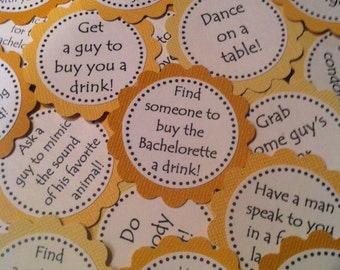 Yellow Bachelorette Party Game Cakes - Couture Cupcake Toppers -  set of 12 - Stemless Toppers