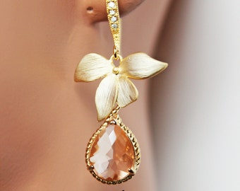 Gold Peach Wedding Earrings, Crystal Drop Bridal Earrings, Gold Rhinestone Bridesmaid Earrings, Mother of the Bride