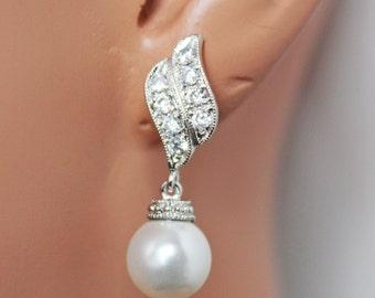 White Pearl Drop Wedding Earrings, Rhinestone Pearl Drop Bridal Earrings, Bridesmaid Earrings, Mother of the Bride