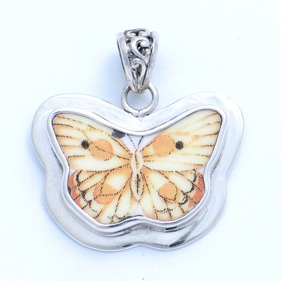 Vintage Belle Broken China Jewelry Small Yellow Butterfly Meadow Sterling Pendant