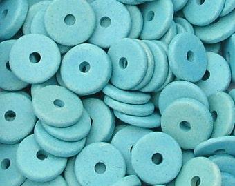 25 Azure turquoise 13mm Washers Greek Ceramic Beads