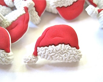 Christmas Santa Hat Craft Novelty Sewing Buttons Dress It Up Lot of 6
