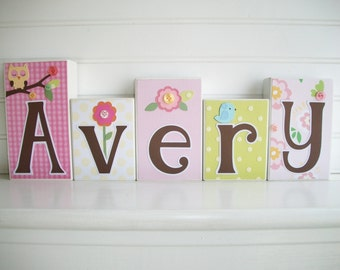 Letter Blocks . Dena happi Tree. Baby name blocks. Nursery Decor .