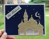 Reserved for Kishore Handmade Eid Mubarak Greeting Card with  Paper Quilling Eid night scene original design