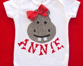 Hippo Baby Girl Bodysuit with Name / Personalization