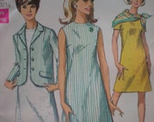 1968 4-H A-Line Dress and Jacket Simplicity Sewing Pattern 7641, Size 10, Bust 32 1/2