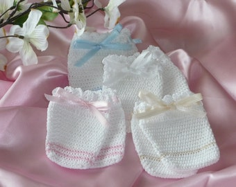 Crocheted Thumbless Baby Mittens / Available in White with Blue Ribbon and All white