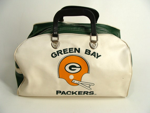 Vintage 70s Green Bay Packers Travel Duffle Gym Bag Vinyl Tote