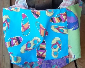 Large Market or Beach Tote Made from Futon Cover Samples