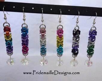 Byzantine Earrings - LGBT Pansexual Asexual Genderqueer Pride colors