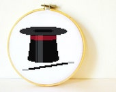 Counted Cross stitch Pattern PDF. Instant download. Magician's Hat and Wand. Includes easy beginner instructions.