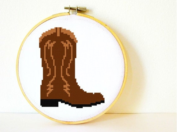 Counted Cross stitch Pattern PDF. Instant download. Cowboy Boot. Includes easy beginner instructions.
