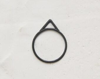 Oxidized Silver Empty Peak ring //  Les géométriques geometric // GM026