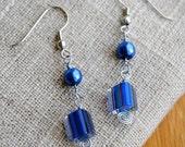 Pearl Earrings Blue Jewelry Sapphire Blue Prom Jewelry Hypoallergenic Metal Cane Glass