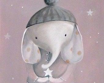 Children's Wall Art Print, Girl Nursery Decor, Elephant Illustrations, whimsical animal portrait by inameliart
