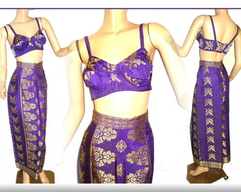 Vintage 1970s Dress// Maxi Skirt// Matching Top// Burlesque// Gold Metallic//Purple// Embroidered
