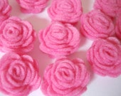 Set of 20 pcs - handmade MINI Felt Rose Flower - bubble gum (MRO)