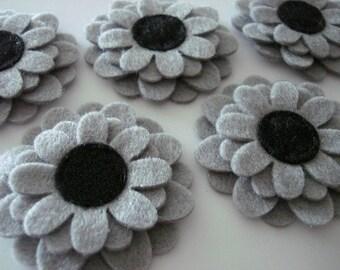 Set of 6pcs handmade felt flower - gray (SU)