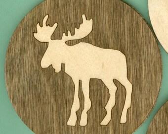 Wood Coasters - Moose (4) - Laser Cut Inlaid (CI-227)
