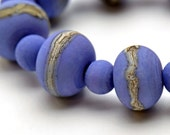 Frosted Lampwork Beads Lavender Silvered Ivory Set of 21