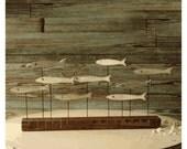 Funky Fish Sculpture Minnow Fish School Wood Art Beach Decor