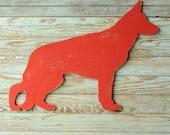 German Shepherd Sign Dog Wall Art Barnwood Red