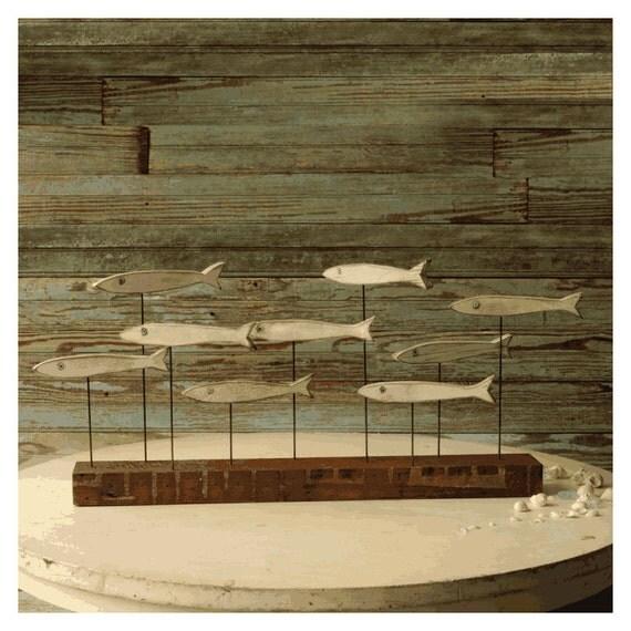 Funky fish sculpture minnow fish school wood fish art beach for Wooden fish wall decor