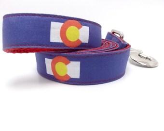 Colorado Dog Collar, Colorado Flag Leash, Colorado Flag Dog Leash, Colorado Leash, Colorado Dog (Leash)