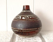 Mid Century Modern Stoneware Vase Small Rounded Vase Short Narrow Neck Rust Color Glossy and Matte Glaze 3 Fish Modernistic Motif