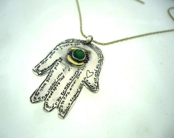 Hamsa hand with Emerald