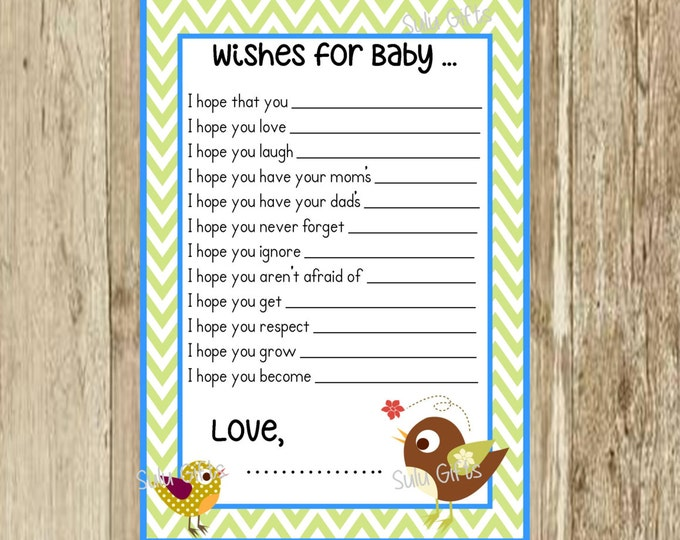 SALE Baby Blue Green Chevron Birdie Bird Shower Game Well Wishes Advice Cards ~ Instant Download Printable PDF ~ Baby Bird Design Sulugifts
