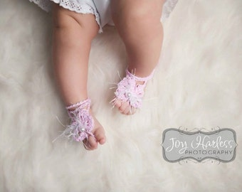 Barefoot Sandals Feather Bow - Newborn to Child
