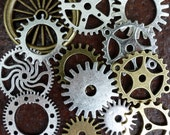 Wholesale Lot 13pcs Steampunk Victorian antique bronze silver gold pocket watch gears charm necklace lot 125  jewelry