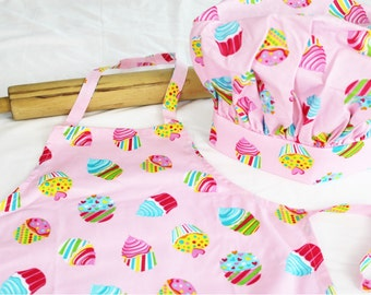 Cotton Candy Cupcakes Child Apron and Adjustable Chef Hat