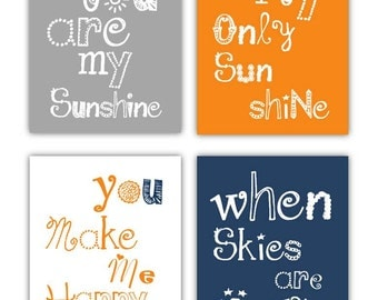 "You are my sunshine Art Prints // Navy and Orange Nursery Decor // Nursery Decor for Boys // Navy Orange Art for Boys // 4-8x10"" PRINTS ONLY"