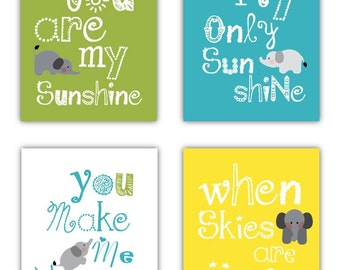 Elephant Art, You are my sunshine Olive Green Yellow and Aqua Art Prints, 4-8x10 prints, Matches Boy or Girl Nursery, nursery