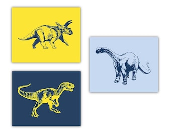 "Dinosaur Nursery Decor // Dinosaur Art // Dino Wall Art // Dinosaur Themed Nursery // Choose Your Colors 8""x10"" PRINTS ONLY"