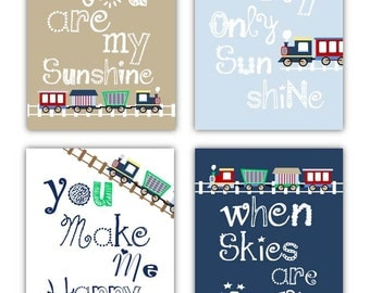 Train Decor for Boys // Train Nursery Art Prints // Train Art for Boys // Trains Nursery Decor // 4-8x10 PRINTS ONLY