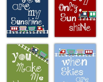 You Are My Sunshine Art // Train Art for Kids // Train Decor // Train Art Prints // Train Nursery Decor // PRINTS ONLY Unframed