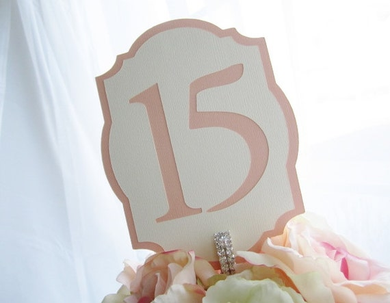 LIMITED - Peaches and Cream Freestanding Wedding Table Numbers- Choose Your Colors