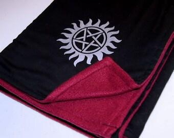 Supernatural Pentagram Starburst Burgundy Black Adult Blanket - Double-Sided Fleece MTCoffinz