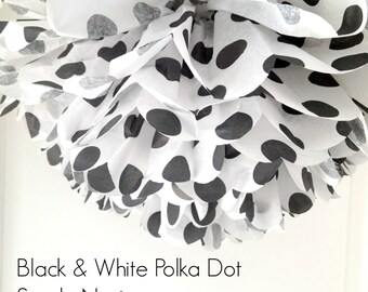 1 Black and White Polka Dot Tissue Paper Pom Pom, Party Supplies, Black and White Polka Dots, Polka Dot Pom Pom, Circus Theme