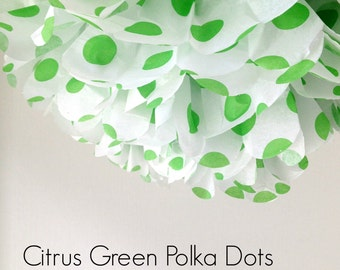 1 Citrus Green Polka Dot Tissue Paper Pom Pom, Party Decorations, Party Supplies, Wedding Decor, Citrus Green Polka Dots, Polka Dot Pom Pom