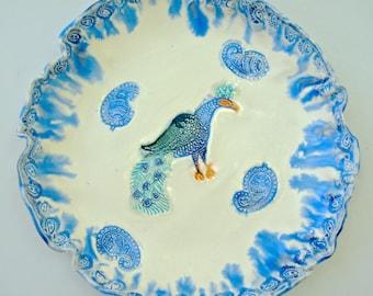 Peacock bowl, Ceramic bowl, Blue White serving dish, platter, Hand Painted bowl, Paisley dish, India Decor, Decorative bowl, cobalt blue