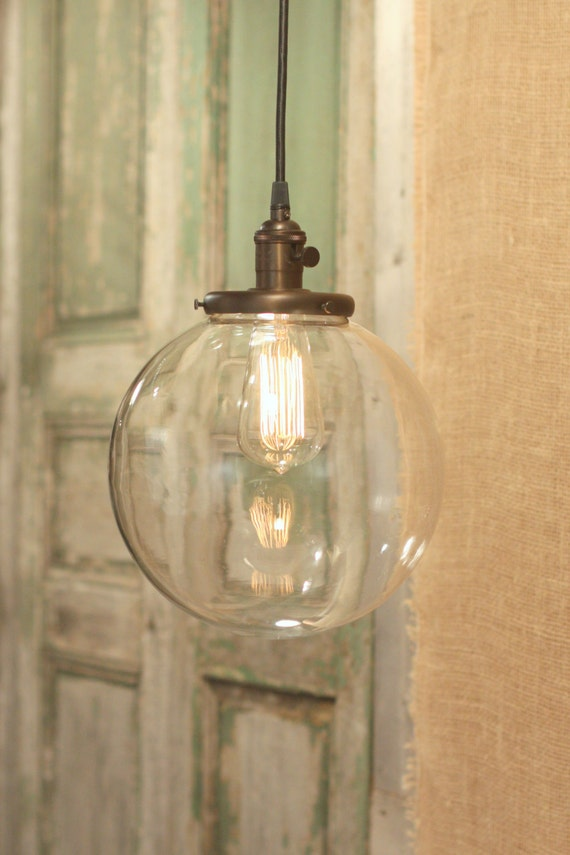 "Pendant Lighting with X-tra Large 10"" Glass Globe Shade and Exposed Socket"