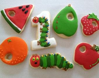 Very Hungry Caterpillar Sugar Cookies, sugar cookie, hungry caterpillar birthday